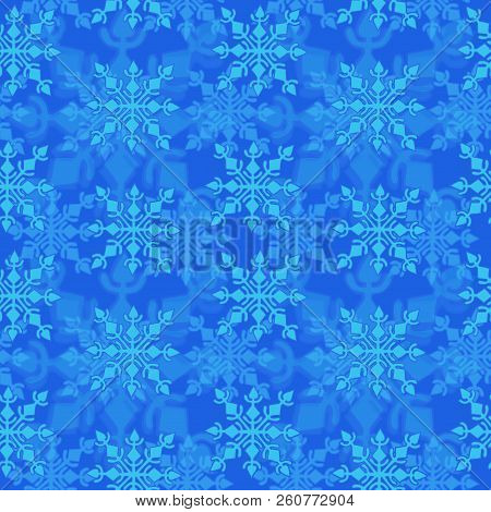 Winter Holiday Seamless Pattern With Snowflake On Blue Background