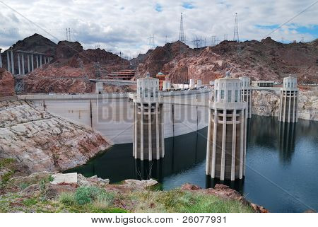 Hoover Dam panorama over Colorado River on the boarder between Arizona and Nevada.