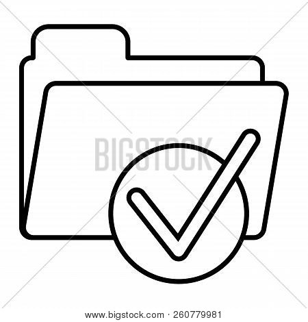 Folder With Tick Thin Line Icon. Ready Sign On Folder Vector Illustration Isolated On White. Documen