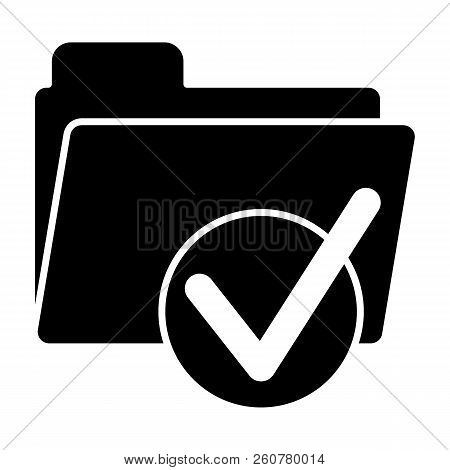 Folder With Tick Solid Icon. Ready Sign On Folder Vector Illustration Isolated On White. Document Fo