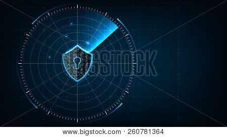 Internet Technology Cyber Security Concept Of Protect And Scan Computer Virus Attack  With Shield Ic