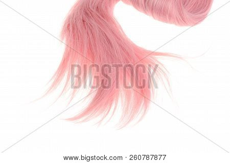 Closeup Pink Weft Of Hair On A White Background