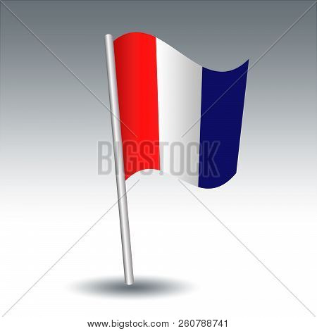 Vector Waving Maritime Signal Flag T Tango On Slanted Metal Silver Pole - Symbol Of Keep Clear Of Me