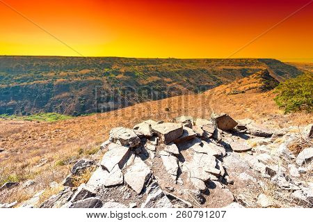 Gamla Nature Reserve Located In The Golan Heights In Israel At Sunrise. View Of The Archaeological S
