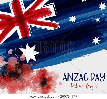 Anzac Day Background With Grunge Watercolor Australia Flag And Two Red Poppy Flowers. Remembrance Sy