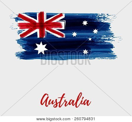 Australia Flag Background. Abstract Grunge Brushed Flag Of Australia For Your Designs.