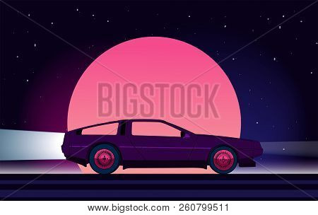 Retro Future. 80s Style Sci-fi Background With Supercar. Futuristic Retro Car. Vector Retro Futurist