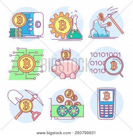 Modern Linear Pictogram Of Cryptocurrency And Mining. Icons On The Topic Of Cryptocurrency. Crypto C