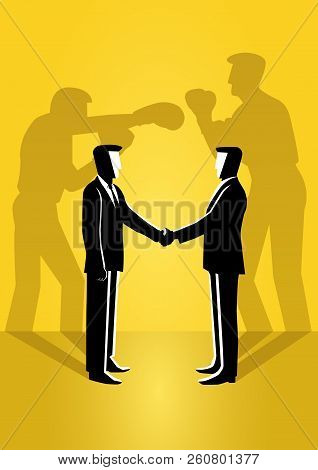 An Illustration Of Two Businessman Shaking Hand With Their True Reflection On The Wall