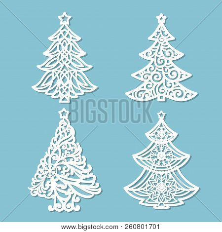 Set Of Patterns For Laser Cutting. Christmas Tree. For The Design Of Greeting Cards, Congratulations