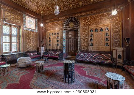 Cairo, Egypt - December 2 2017: Manial Palace Of Prince Mohammed Ali. Guests Hall With Wooden Ornate