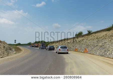 Speed Limit Signs At The Site Of Repair Work On The Highway Between The Villages Of Guy-kodzor And V