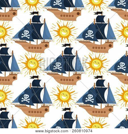 Pirate ship vector kids cartoon piracy backdrop with pirateboat or sailboat on seaside with island and palm illustration marine background for children poster