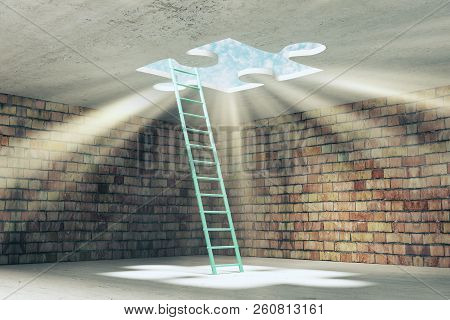 Abstract Brick Prison Interior With Ladder And Missing Puzzle Way Out With Sunlight. Challenge And E