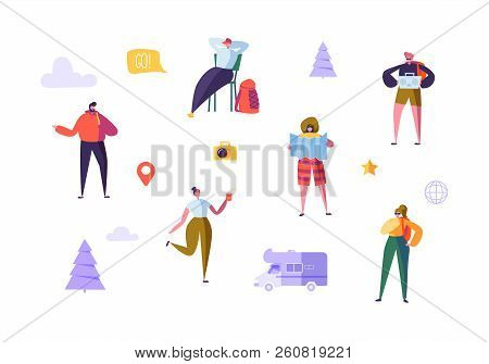 Happy Characters On Vacation. Travel On Car Concept With Flat People Travelers. Man And Woman Travel