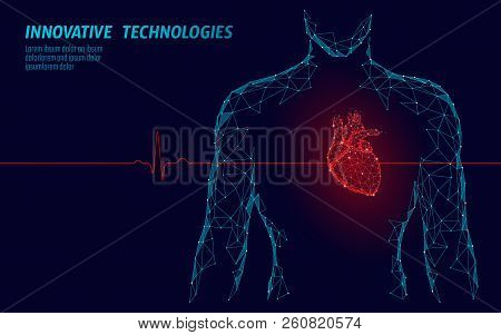 Man Silhouette Healthy Heart Beats 3d Medicine Model Low Poly. Triangle Connected Dots Glow Point Re