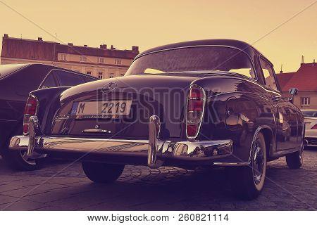 Hustopece, Czech Republic - September 29, 2018: Mercedes Benz Logo On A Black Vintage Car. Mercedes-