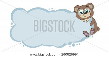Frame For Text With A Cartoon Bear. Childrens Frame For Text. Vector Baby Frame For Your Text. Schoo