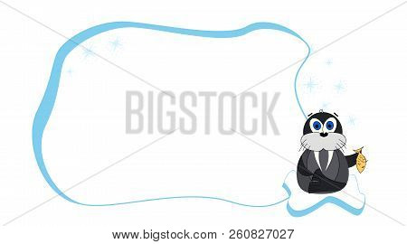 Frame For Text With A Cartoon Walrus On An Ice Floe. Childrens Frame For Text. Vector Baby Frame For
