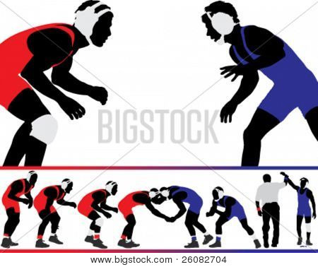 Set of wrestling action silhouette illustrations