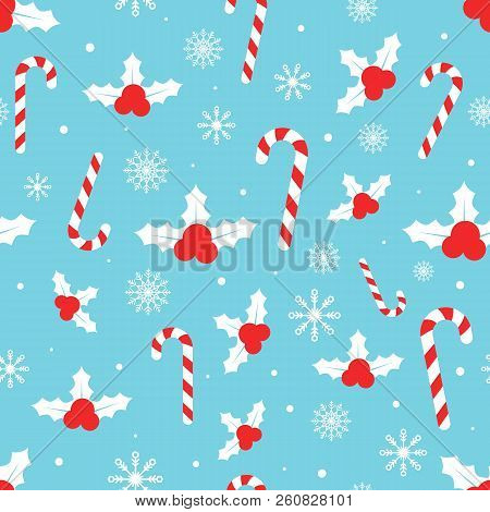 Christmas Pattern With Holly Berries, Candy Canes, Snowflakes, Snow Balls On Blue Background. Winter