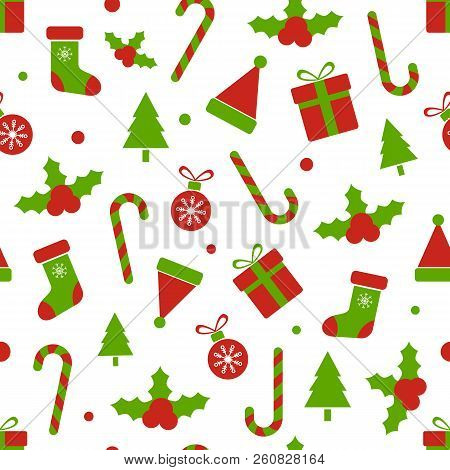 Christmas Pattern With Holly Berries, Balls, Gift Boxes, Candy Cane, Bell, Tree, Snowflakes. Merry C