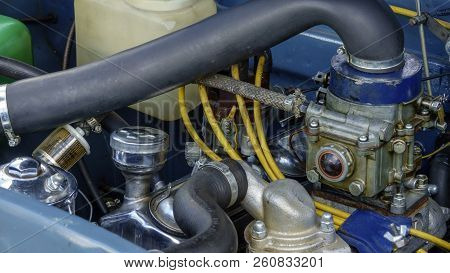 Engine And Auxiliary Equipment Of An Old Retro Car