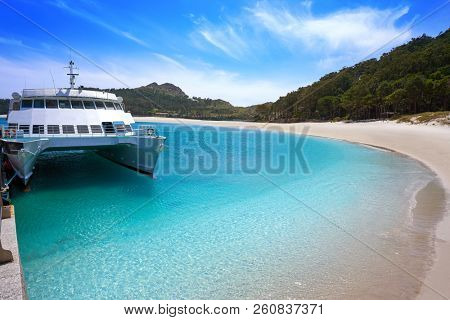 Praia de Rodas beach in islas Cies island of Vigo at Spain