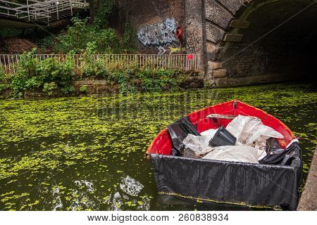 London, England - August 9, 2018: Boat On Islington Canal In Angel London.