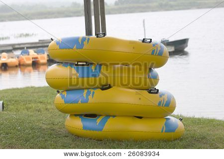 Stack of inflatable rings for fun