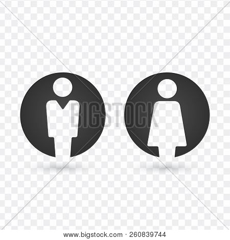 Vector Male And Female Icon Set. Gentleman And Lady Toilet Sign. Man And Woman User Avatar. Flat Des
