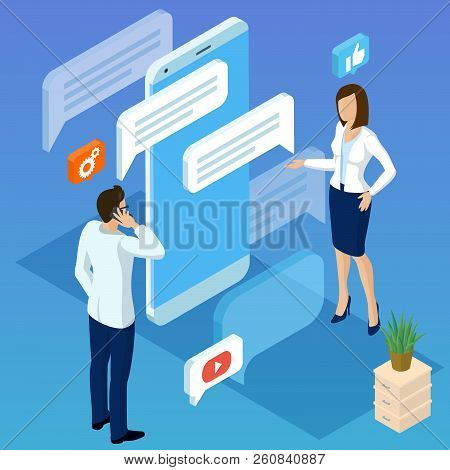 Flat Design Isometric Vector Concept For  Business Mobile Network Connections, E-mail Marketing, Peo