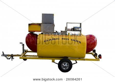 Mobile hot dog stand Isolated on white