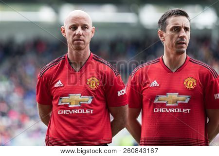 September 25th, 2018, Cork, Ireland - Nicky Butt And Gary Neville Line Up At Pairc Ui Chaoimh Pitch