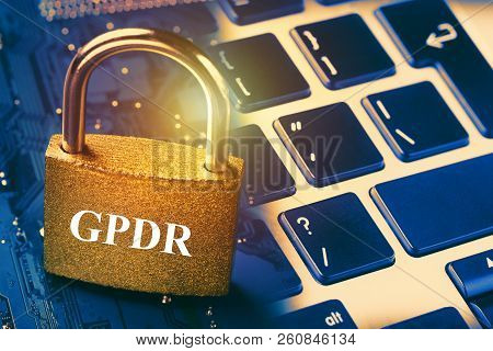 General Data Protection Regulation Gpdr - Padlock On Computer Motherboard And Keyboard. Internet Dat
