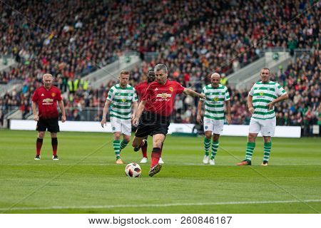 September 25th, 2018, Cork, Ireland - Denis Irwin Scores A Penalty During The Liam Miller Tribute Ma