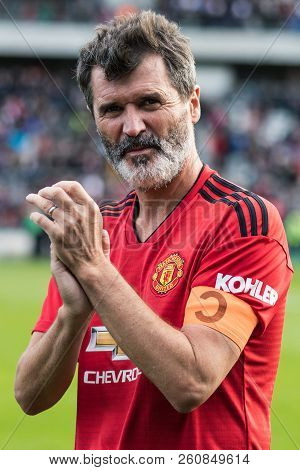 September 25th, 2018, Cork, Ireland - Roy Keane Clapping With Manchester United Jersey And Captain A