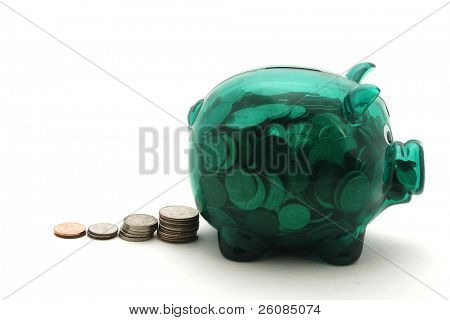 Overstuffed piggy bank