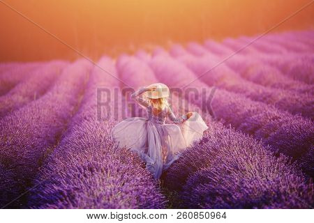 Woman In Lavender Flowers Field At Sunset In Purple Dress. France, Provence. Concept Travel.