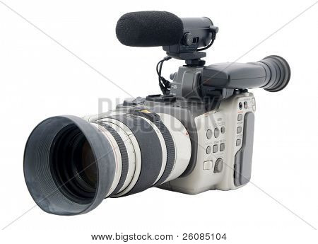 Older Hi-8 camcorder isolated on white