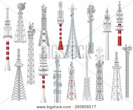Radio Tower Vector Towered Communication Technology Antenna Construction In City With Network Wirele