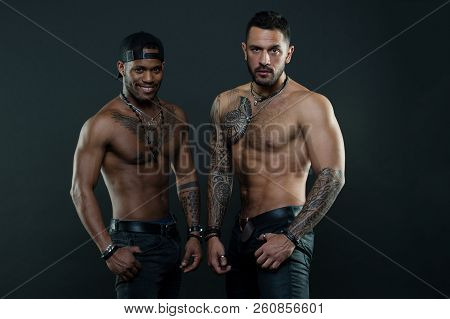 Inspiring Better Health. Men With Muscular Torsos. African American And Hispanic Men After Workout I
