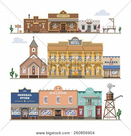 Saloon Vector Wild West Building And Western Cowboys House Or Bar In Street Illustration Wildly Set