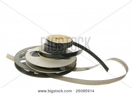 Old film reels with film Isolated on white