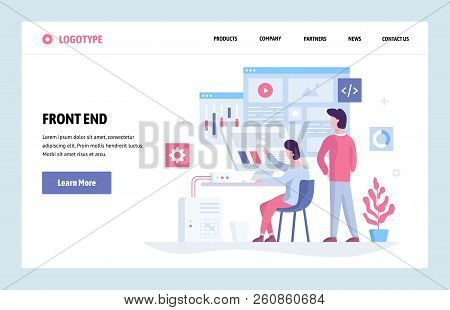 Vector Web Site Linear Art Design Template. Front End Development Team Using Futuristic Dashboard An