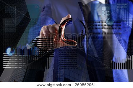 Blockchain Technology. Investment Crypto Currency. Hand Interact Virtual Display Business Graphic. C