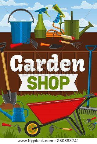 Garden Shop, Gardening Tools And Gardener Items. Vector Wheelbarrow, Watering Can Or Rake And Spade