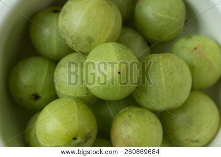 The Indian Gooseberry Or Phyllanthus Emblica Image Close Up For Background.