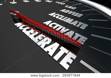 Advise Acclimate Activate Accelerate Speedometer Words 3d Illustration poster