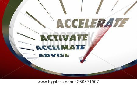 Advise Acclimate Activate Accelerate Sales Steps Speedometer 3d Illustration